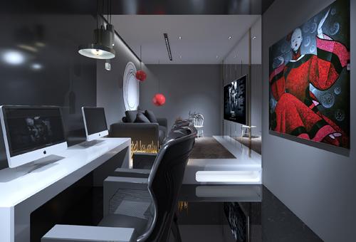 黑白灰电竞风网咖设计效果图案例
