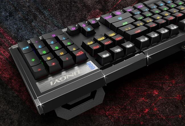 灵逸GT-100网咖背光游戏机械键盘 全键无冲 混光(黑色 青轴)