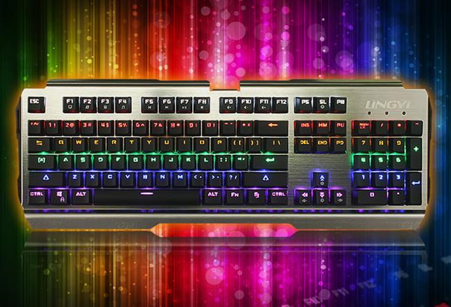 灵逸冰K16-GT103网咖炫彩背光游戏金属机械键盘104键 青轴