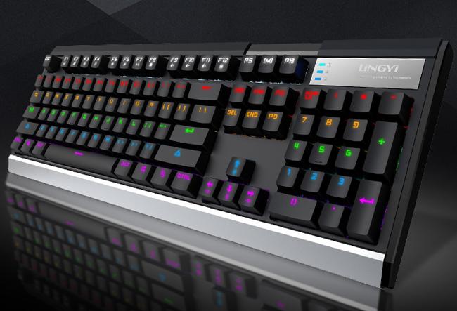 灵逸GT-200黑寡妇网咖游戏机械键盘青轴104键 全键无冲 多种背光
