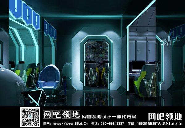 玖号网咖装修设计效果图(留缘店)——超现实科幻电竞风!
